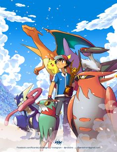 Ash Ketchum, Pikachu and Charizard with their Kalos Pokémon Team ^.^ ♡