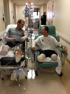 These two men, Eric Hunter (on left) and Josh Wetzel (right) both lost limbs in IED explosions. Both have Facebook pages. Prayers for Eric Hunter, Prayers for Josh Wetzel. Please follow and support them on their journey. True heroes.