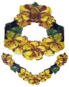 Beaded Yellow Poppies Weave Necklace Pattern and Kit