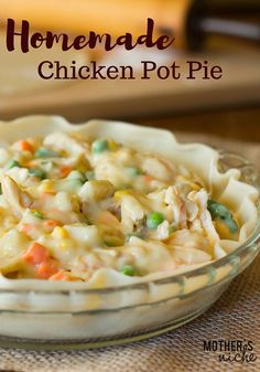 Delicious chicken pot pie recipe, perfect for those winter nights when you want something warm and comforting. Easy crust that can be used for pies as well. More
