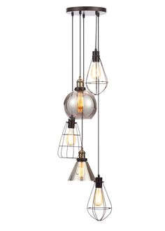Tapping into the industrial trend, this stripped-back brass ceiling light comes with a cluster of pendants cascading at different levels. Three naked...