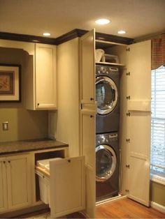 40 Top Hidden Laundry Room In A Bathroom Just Use The Washer As Diy Hamper Secrets - bdarop Laundry In Kitchen, Laundry Closet, Laundry Room Organization, Laundry Room Design, Laundry In Bathroom, Laundry Center, Laundry Rooms, Washer Dryer Closet, Laundry Baskets