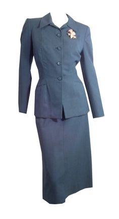 Agent Carter style vintage Cadet Blue Nipped Waist 2 pc Suit 1940s by DorotheasCloset