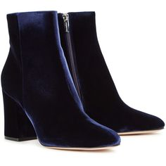 Gianvito Rossi Shelly Dark Blue Velvet Ankle Boots - Size 4 ($960) ❤ liked on Polyvore featuring shoes, boots, ankle booties, zipper boots, zip boots, gianvito rossi booties, velvet boots and high heel boots