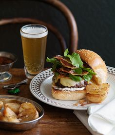 Cheeseburger with beer-battered onion halves :: Gourmet Traveller Magazine Mobile