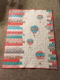 Modern Baby Quilts For Sale Looking For Quilting Project Inspiration Check Out Hot Air Balloons Baby Quilt By Member Terri Modern Baby Quilts Fons And Porter Simple Modern Baby Quilt Patterns Mini Quilts, Jellyroll Quilts, Strip Quilts, Patchwork Quilting, Scrappy Quilts, Small Quilts, Fabric Panel Quilts, Patchwork Pillow, Hand Quilting