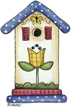 Another Country Birdhouse Decoupage Vintage, Decoupage Paper, Arte Country, Country Crafts, Country Style, Pintura Tole, Bird Houses Painted, Cute Clipart, Country Paintings