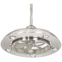 Add airflow and illuminate any area with this brushed nickel finish cage LED ceiling fan from Possini Euro Design. Five downlights. Includes five 7 watt LED base bulbs. Style # at Lamps Plus. Unique Ceiling Fans, Ceiling Fan With Remote, Led Ceiling, Modern Ceiling, Cuba, Ceiling Fan Makeover, Brushed Nickel Ceiling Fan, Modern Fan, Living Room Kitchen