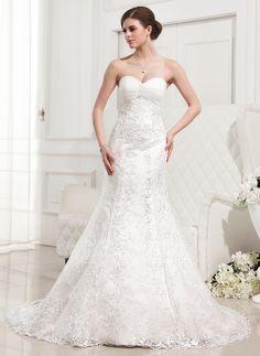 Trumpet/Mermaid Sweetheart Court Train Satin Tulle Lace Wedding Dress With Ruffle Beading (002012829)