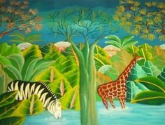 F. JEAN JN. PIERRE JUNGLE HAITI HAITIAN ART PAINTING - Ad ...