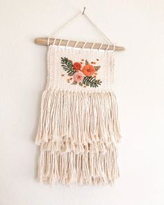 Natural cotton weaving with ebroidery // embroidered weaving // floral weaving – Macrame Weaving Projects, Weaving Art, Loom Weaving, Tapestry Weaving, Hand Weaving, Art Projects, Art Hippie, Macrame Patterns, Woven Wall Hanging