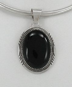 Native American  sterling silver Onyx pendant