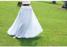 Light Blue Stylish Chiffon Long Maxi Skirt
