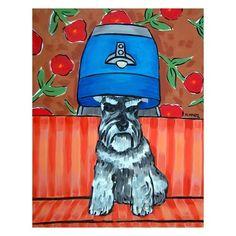 Schnauzer at the Salon Dog Art Print 8x10