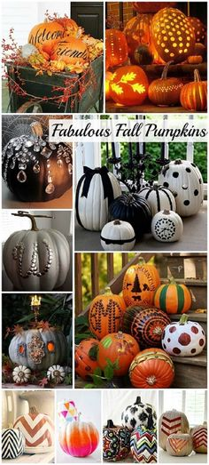 Fabulous Fall Pumpkin decorating ideas! #DIY #Fall @Christy Polek LeAnn  we should have a pumpkin decorating night!