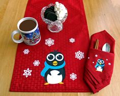 Classic or Cute Reversible Table Runner Idea using your Silhouette and Heat Transfer by Annie Williams #silhouettedesignteam #winter