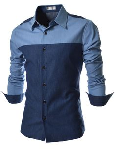 (An - item B1) Slim Fit 2 Tone Denim Patched Long Sleeve Shirts