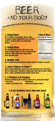 Beer and Your Body - Health Benefits of Beer---good to know! More Beer, All Beer, Wine And Beer, Best Beer, Beer 101, Beer Is Good, Beer Brewing, Home Brewing, Beer Health Benefits