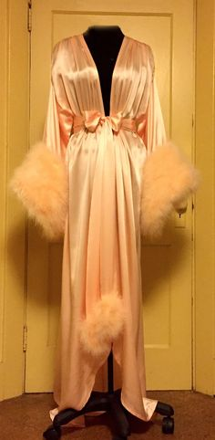 Image of Silk Charmeuse Dressing Gown w/ Marabou Cuffs                                                                                                                                                                                 More