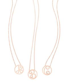 """Mini+Single+Initial+Necklace,+Rose+Gold,+18""""+by+K+Kane+at+Neiman+Marcus."""