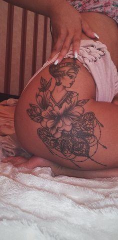 23 New Ideas Womens Flower Tattoo Sleeve Tat Trendy Tattoos, Sexy Tattoos, Body Art Tattoos, Cool Tattoos, Tatoos, Cleopatra Tattoo, Nefertiti Tattoo, Nail Tattoo, Tattoo Hip