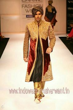 Groom Sherwani is Indian groom attire for wedding. There is belief in India that Groom is the king for One Day. So his attire should be different from other so it is called Groom Sherwani . Groom Sherwani is look to like king attire the top of attire called Sherwani is as long as cover the knee of Groom. Bottom is called churidar.  But now a days with Groom Sherwani ,breeches and patiala take place instead of churidar. Tremendous craze of Dhoti Patiala beats all other bottom with Groom…