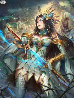 Artist: Nudtawut Thongmai aka NeoArtCorE - Title: Unknown (fragment) - Card: Rubion the Cultured (Azure Aura) Fantasy Warrior, Fantasy Girl, Fantasy Art Women, Angel Warrior, Beautiful Fantasy Art, Warrior Girl, Dark Fantasy Art, Fantasy Artwork, Fantasy Characters
