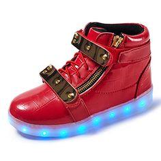 NIKOO Kid LED Shoes High Student Dance Boot USB Charge Ki...