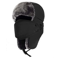 Unisex Winter Trooper Hat Hunting Hat Ushanka Ear Flap Chin Strap and  Windproof Mask (Black be33f400c5cf