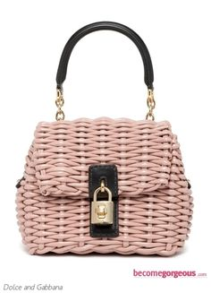 The perfect pink purse for a spring day! Dolce and Gabbana's Small Straw Bag