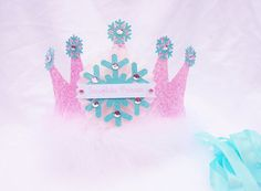 Snowflake Princess Birthday Crown Party Hat in Pale Pink Light Aqua Glitter for Disney Frozen party Frozen Birthday Party, Disney Frozen Party, Frozen Theme Party, 4th Birthday Parties, Princess Birthday, Princess Party, Birthday Crowns, Frozen Princess, 5th Birthday