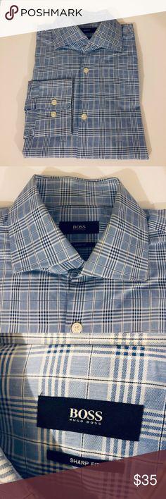 eb9e7d4a2a6 Hugo Boss Blue & White Plaid Sharp Fit Shirt 16 Hugo Boss Blue, White and  Navy Blue Plaid Sharp Fit Slim Fit Dress Shirt size 16 Like new!