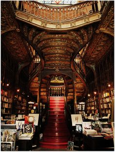 [another view of the] Lello & Irmao Bookshop in Porto, Portugal - the oldest bookshop in Portugal - [someone else's caption, somewhat modified]