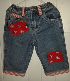 baby blues 'pirate' jeans. Fully lined in red with new pirate patches, back & front and with stripey ribbon. Very cute 3-6 months £12.50 See https://folksy.com/shops/sldelaney
