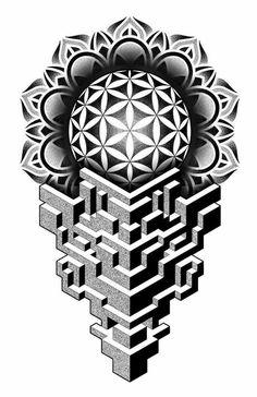Geometric Tattoo Stencil, Geometric Tattoos Men, Geometric Tattoo Design, Geometric Drawing, Mandala Tattoo Design, Tattoo Stencils, Geometric Art, Simple Mandala Tattoo, Mandala Tattoo Sleeve