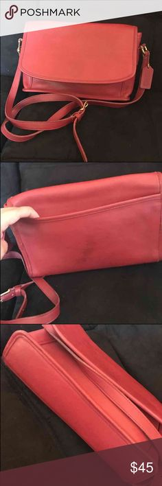 """Red vintage coach purse Red vintage coach purse Crossbody..#9975  MADE IN THE UNITED STATES....MAGNETIC SNAP LOCK CLOSURE THEN OPENS TO A POCKET UNDER THE FLAP THEN THE MAIN COMPARTMENT WITH A InSIDE ZIPPERED POCKET....Flap has pen STAINS ....CLEAN ExTERIORotger then the stain in the back has a darker spot that doesn't show when your carrying it ......IN GOOD PRE-OWNED VINTAGE CONDITION WITH MINOR USE.....THANKS! Height 7"""" Length 11"""" Depth 3"""" Stap drop 24"""" Coach Bags Crossbody Bags"""