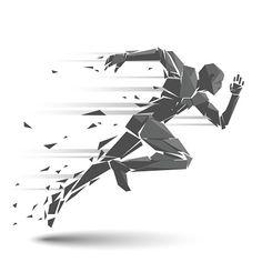 Geometrico running uomo - illustrazione arte vettoriale