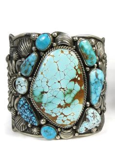 Turquoise Jewelry Gorgeous, one of a kind, authentic turquoise sampler cuff bracelet featuring American turquoise mines by Native American artist, Darryl Becenti offered by Southwest Silver Gallery. Tribal Jewelry, Turquoise Jewelry, Turquoise Bracelet, Silver Jewelry, Vintage Turquoise, Navajo Jewelry, Boho Jewelry, Jewelry Box, Silver Rings