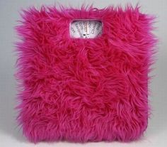 Fluffy hot pink bathroom scale