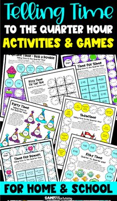 Telling time activities for time to the quarter hour. These activities and games give lots of practice with board games, cut and paste activities and color by code sheets too! Fun activities to help them master telling time to the quarter hour! Telling Time Activities, Fun Activities, Cut And Paste Worksheets, Activity Games, Second Grade, Board Games, Party Time, Sunshine, Coding