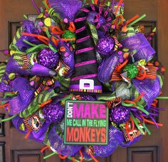 Halloween Deco Mesh Wreath with Velvet Witch Hat and Lights
