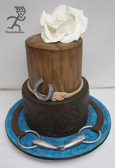 Horse Inspired Cake...with tooled leather effect - by Ciccio @ CakesDecor.com - cake decorating website