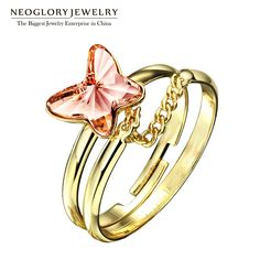 Jewelry Austria Crystal Colorful Butterfly Multilayer Chains Vintage Adjustable Rings for Women Romantic New – lolfashion.net