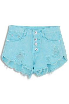 Sweet Destroyed Fringe Denim Shorts