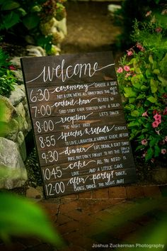 Wooden Welcome/Program Sign for Mallard Island Yacht Club Wedding :: Sign by Kyl. Wooden Welcome/Program Sign for Mallard Island Yacht Club Wedding :: Sign by Kyle Michelle Weddings :: Photography by Joshua Zuckerman :: Source by ky. Wedding Schedule, Wedding Day Timeline, Wedding Planning, Wedding Signage, Wedding Programs, Rustic Wedding, Wedding Program Board, Wooden Wedding Signs, Chalkboard Wedding