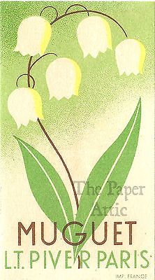 Art Deco Lily of the Valley Antique Vintage French Chromo Perfume Trade Card