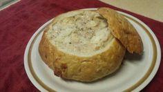 Chicken soup in a bread bowl.