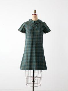 vintage 60s plaid mini dress with peter pan collar