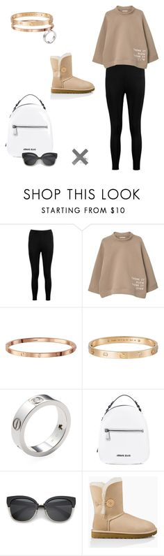 """can we go hiking? but like... in style"" by aesthicari on Polyvore featuring Boohoo, MANGO, Cartier, Armani Jeans and UGG Australia"