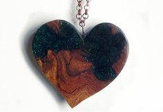 Wood and Resin Heart Necklace with sparkles Elm by FluffyFenris